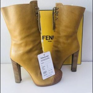 Fendi Leather Lace-up mid calf Boots